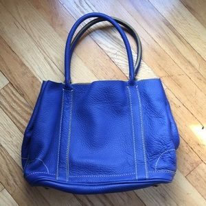100% Leather J. Crew Small Tote in Royal Blue